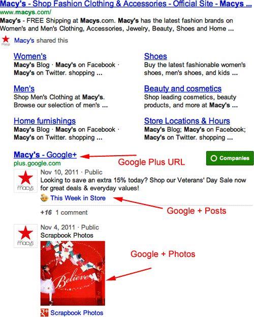 Google : Google Plus dans les SERPS