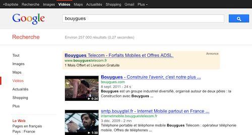 Google : Vidéo porno pour Bouygues